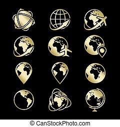 dourado, ícones, globo, cobrança, pretas, terra, fundo