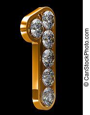 dourado, 1, numeral, incrusted, com, diamantes
