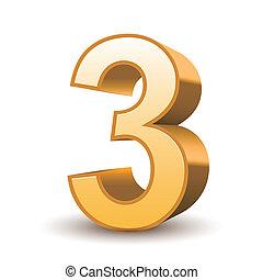 dourado, 3, brilhante, número, 3d