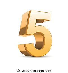 dourado, 3d, 5, brilhante, número