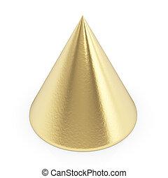 dourado, 3d, cone, branco