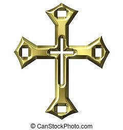 dourado, 3d, crucifixos, artisticos