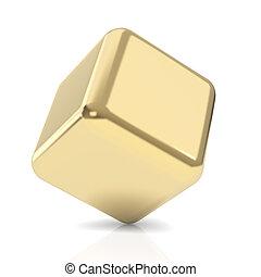 dourado, 3d, cubo, branco