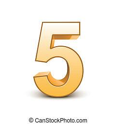 dourado, 5, brilhante, número