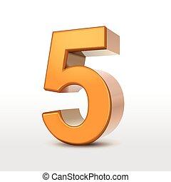 dourado, 5, número, 3d