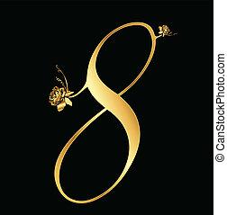 dourado, 8, vetorial, número, rosas