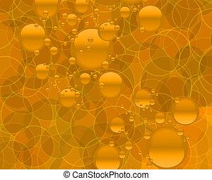 dourado, abstratos, bolhas