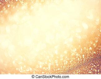 dourado, abstratos, defocused, fundo, com, piscando,...