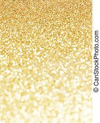 dourado, abstratos, defocused, fundo, luzes