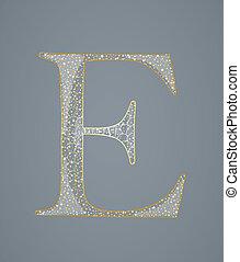 dourado, abstratos, e., letra