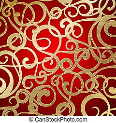 dourado, abstratos, experiência., vermelho, padrão