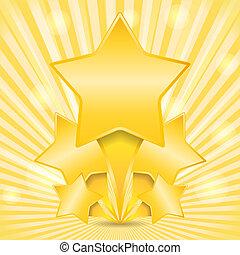 dourado, abstratos, fundo, estrelas