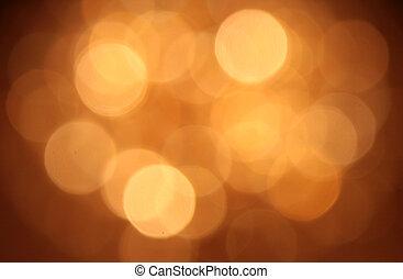dourado, abstratos, obscurecido, luzes, bokeh, fundo, circular