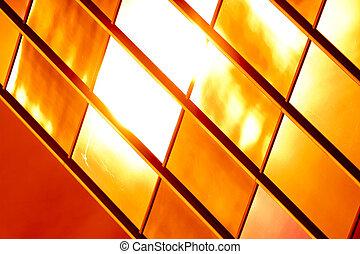 dourado, abstratos, padrão, vidro, experiência.
