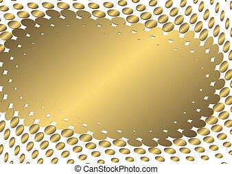 dourado, abstratos, quadro, (vector)