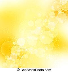 dourado, abstratos, romanticos, fundo, com, corações, e,...