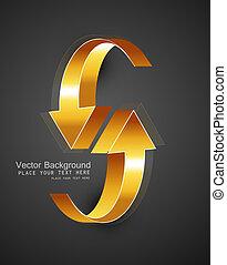 dourado, abstratos, setas, vetorial, desenho, brilhante, 3d