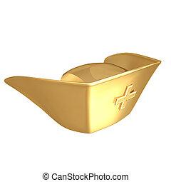 dourado, alimenta boné