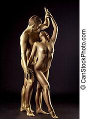 dourado, amantes, semelhante, par, jovem, estátua