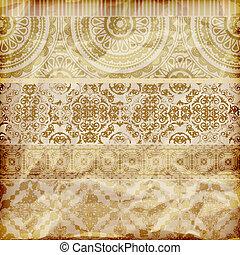 dourado, amarrotado, vetorial, seamless, textura, folha, papel, floral, fronteiras