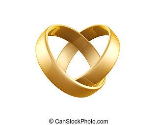 dourado, anel, casório