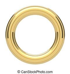 dourado, anel, copyspace, torus, isolado, branco