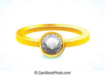 dourado, anel, diamante