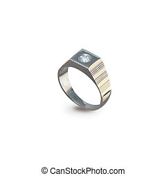 dourado, anel, homens, diamante