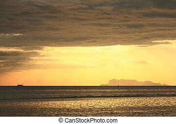 dourado, anoitecer, luz, seascape