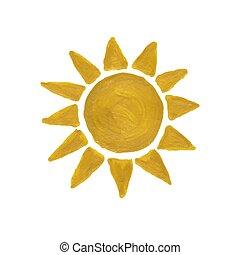 dourado, aquarela, sol