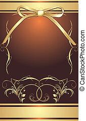 dourado, arco, com, decorativo, quadro
