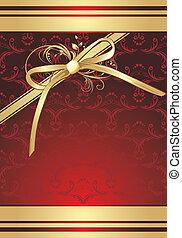 dourado, arco, com, ornamento