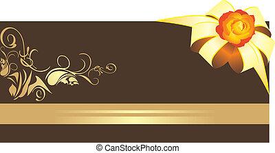 dourado, arco, com, rose., borda