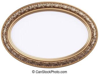 dourado, armação quadro, espelho, oval, ou