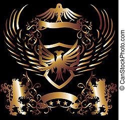 dourado, arte, águia, quadro, leão, vetorial