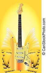 dourado, asas, guitarra