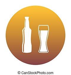 dourado, b, gradiente, sinal., garrafa cerveja, círculo branco, ícone