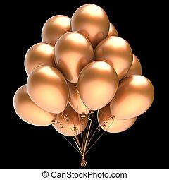 dourado, balão hélio, pretas, partido, balões, grupo