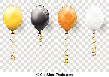 dourado, balões, flâmula