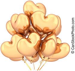 dourado, balões, forma, corações