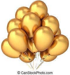 dourado, balões, luxo, partido