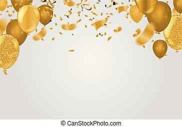 dourado, balões, partido, celebração, bandeira, serpentina