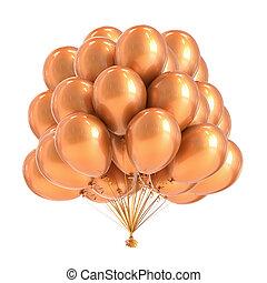 dourado, balões, partido, grupo