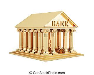 dourado, banco, ícone