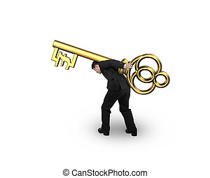 dourado, bata símbolo, tesouro, forma, carregar, tecla, homem