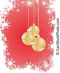 dourado, baubles natal