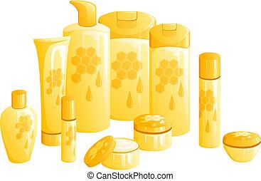 dourado, beleza, mel, produtos, desenho, linha