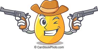 dourado, boiadeiro, saudação, ovo, caricatura, cartão