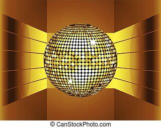 dourado, bola disco, ligado, 3d, meio ambiente