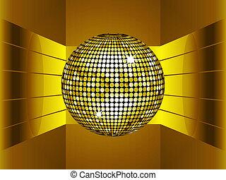 dourado, bola disco, ligado, dourado, metálico, meio ambiente